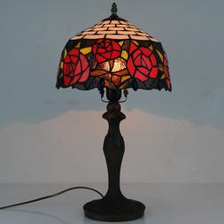 "12"" Tiffany Style Desk Light Stained Glass Rose Table Lamp V"