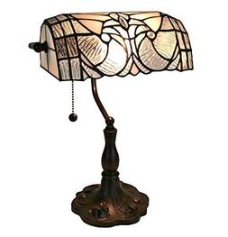 13 in Tiffany Style Floral Banker Table Lamp Multicolored St