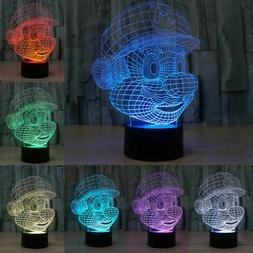 3D USB LED Night Light 7 Color Touch Switch Table Desk Lamp