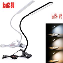 5W Dimmable Clip-On LED Desk Lamp Flexible Reading Light Bla