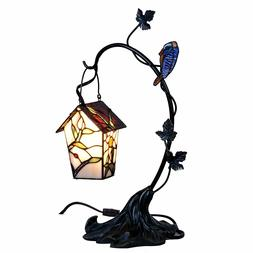 Bieye 6-inches House and Bird Tiffany Style Stained Glass Ac
