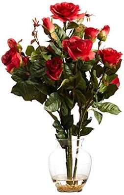 Nearly Natural 1281-RD Rose Bush with Vase Silk Flower Arran