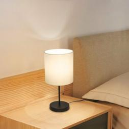 Haitral Bedside Desk Table Lamp With Round Metal Basic Fabri