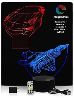 BIRTHDAYS GIFTS FOR BOYS 3D Illusion Night Light 7 color 2 D