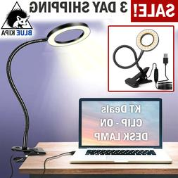 Clip On Desk Lamp LED Flexible Arm USB Dimmable Study Readin