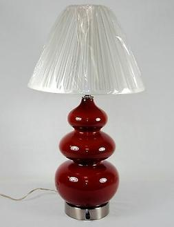 Cranberry Ceramic Table/Desk Lamp w/Dimmer Switch & Optional