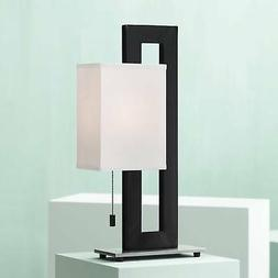 Floating Square Table Lamp In Black And Brushed Steel