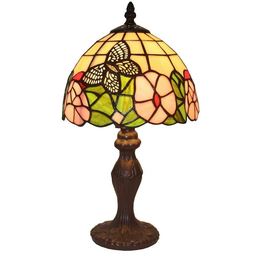 "1-Bulb Bell Shade Lighting Flowery Mini Table Lamp 15"" Tall"