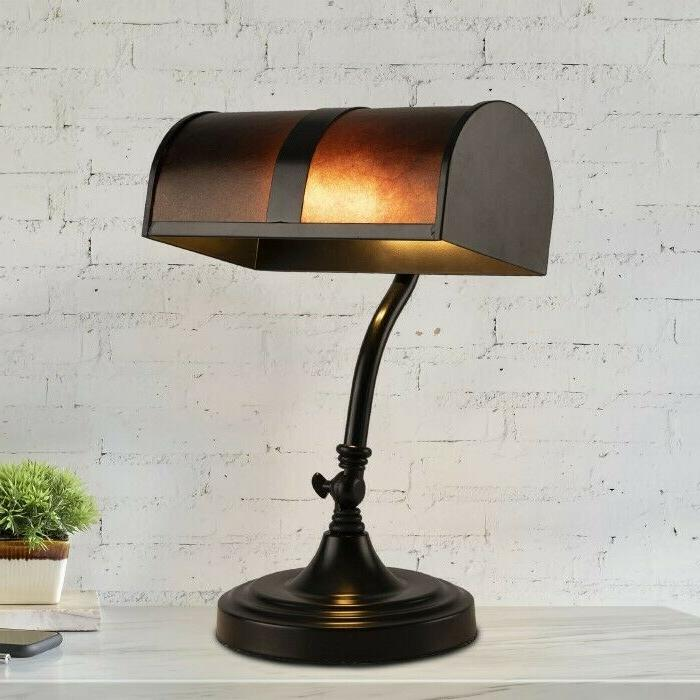 bankers lamp amber mica shade antique vintage