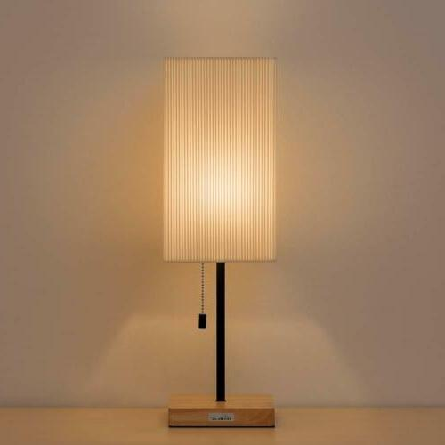 Square Nightstand Lamp Wooden Base Desk Lamp Shade Japanese-