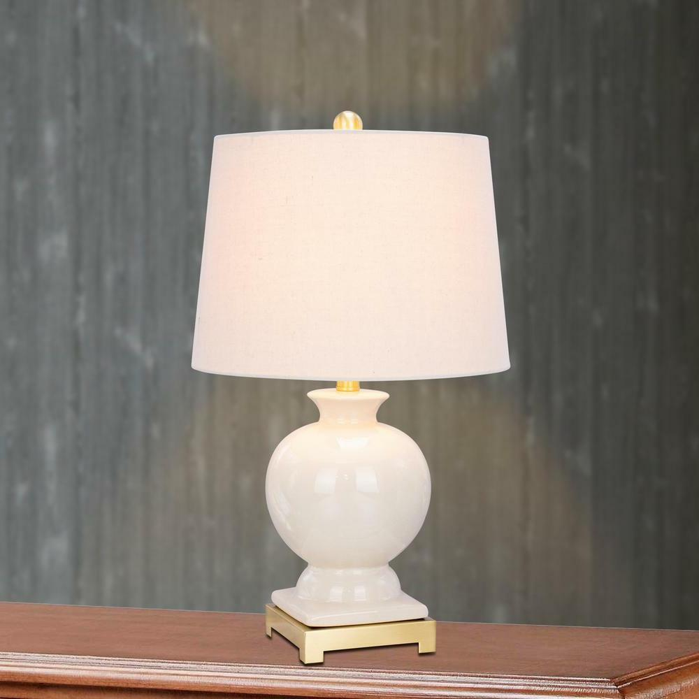 "Clear Crackle Ceramic Lamp Satin Brass Metal Lighting 24"" Eg"