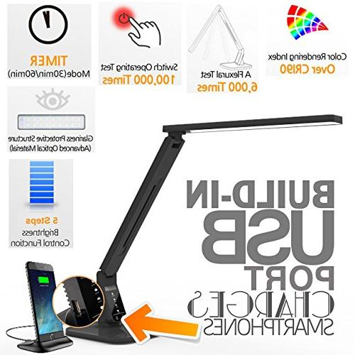 Dimmable Lamp Black, Modes, 5-Level Panel, 1-Hour 5V/2A Charging
