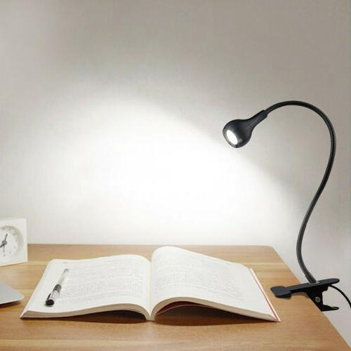 Flexible USB Clip on LED Desk Lamp Reading Light Bed Headboa