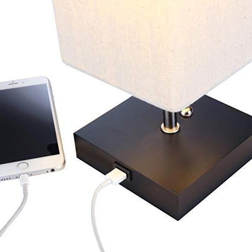Bedside Table & Lamp – Modern with Unique & Functional USB – for Table Living -