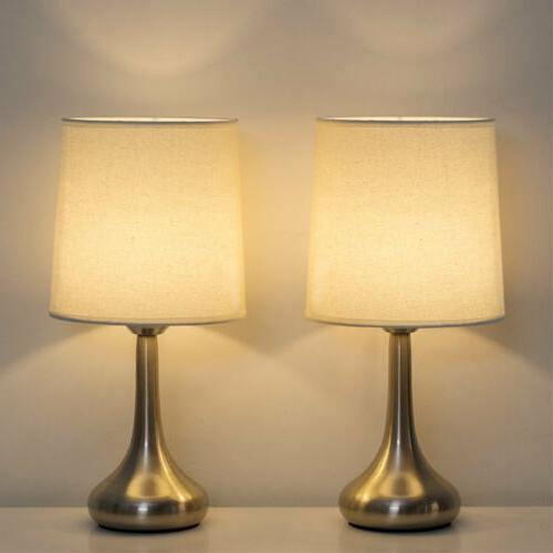 HAITRAL Modern Table Desk Lamps Set of 2 with Fabric Shade M