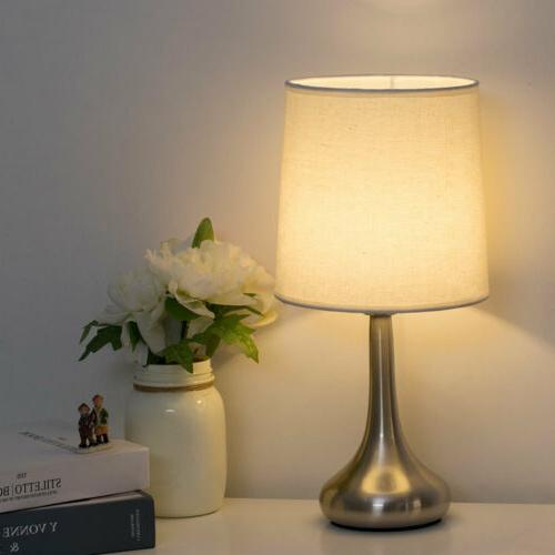 HAITRAL Table Desk Lamp with Fabric Base-White
