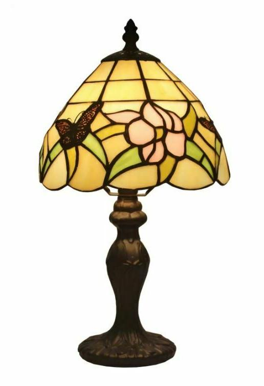 SMALL STAINED GLASS LAMP Shade Handcraft Desk Accent Light