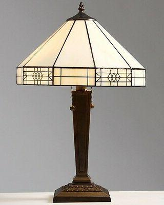 style mission white table lamp lamps shade