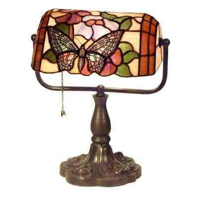 tiffany style banker butterfly desk lamp stained