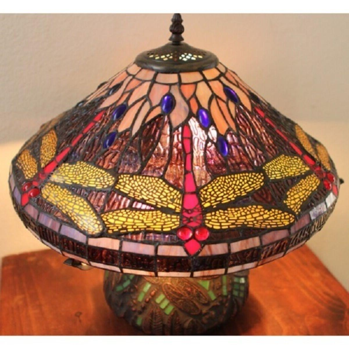 Tiffany Dragonfly Cut Stained Table Desk Mosaic