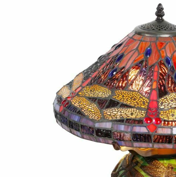 Tiffany Style Table Light Reading Glass Vintage Mosaic