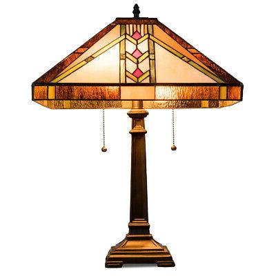 """Tiffany-Style 16"""" Stained Glass Lampshade Desk Lamp Mission"""