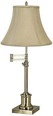 Traditional Swing Arm Desk Table Lamp Brass Imperial Taupe S