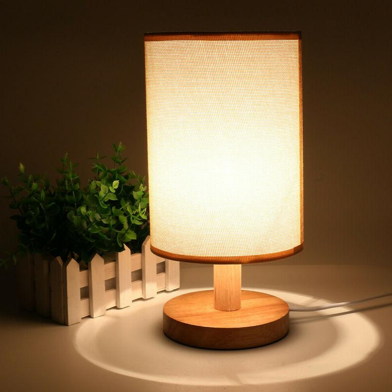 Wood Table Lamp Bedside Desk Kids Room Free Shipping