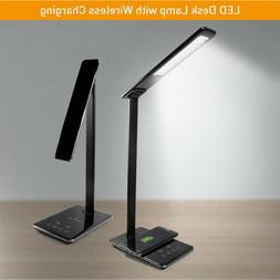 LED Desk Lamp Bedroom Dimmable Table Light with Qi Wireless