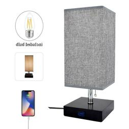 LED Wooden Bedside Table Lamp Desk Nightstand Light with USB