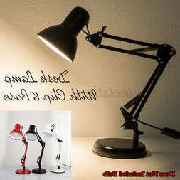 Long Swing Arm Metal Desk Lamp Folding Table Light With Clip