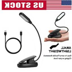 Mini LED Reading Book Light With Flexible Clip USB Rechargea