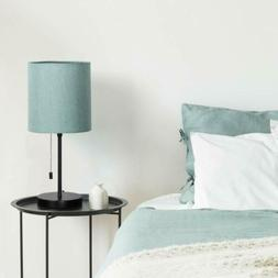 Modern Nightstand Lamps with Fabric Shade, Pull Chain Switch