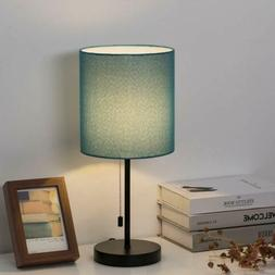 Modern Table Lamp Simple Desk Lamp & Fabric Shade Pull Chain