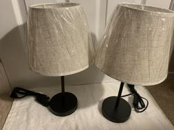 """Nightstand Lamps Set of 2 with Fabric Shade 16.5"""" Bedside De"""