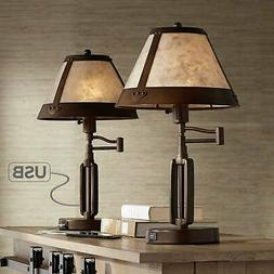 Samuel Mica Shade Swing Arm USB Desk Lamps - Set of 2