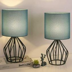 Set of 2 Modern Table Desk Lamps Bedside Teal Lamps for Bedr
