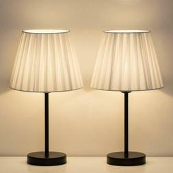 Set of 2 Small Nightstand Lamps with White Fabric Shade Beds