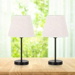 Set of 2 Small Nightstand Lamps with Fabric Shade Bedside De