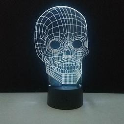 Skull Head 3D Illusion Light Desk Night Lamp Bedroom Table D