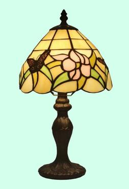 SMALL STAINED GLASS TABLE LAMP Tiffany Style Shade Handcraft