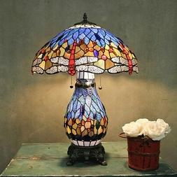 Tiffany Style Stained Glass Table Lamp Blue Dragonfly Desk L