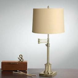 Swing Arm Desk Table Lamp Antique Brass Taupe Shade for Livi