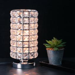 Modern Table Desk Bedside Lamp Light Crystal Style with Meta
