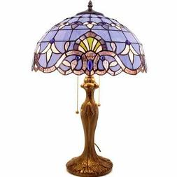 Tiffany Lamp Stained Glass Desk Lamps 24 Inch Tall Blue Purp