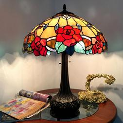 """Tiffany Style 25"""" Roses Floral 2 Bulb Stained Glass Table De"""