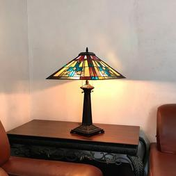 """Tiffany Style 25"""" Tall Mission Stained Glass Table Desk Lamp"""