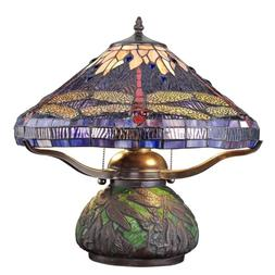 Tiffany Style Dragonfly Lamp Cut Stained Glass Reading Table