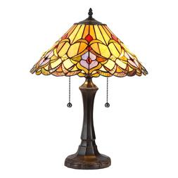 """Tiffany Style Floral 2 Bulb Stained Glass 22"""" Tall Table Des"""