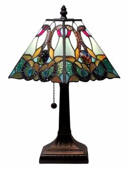 Tiffany Style Mission Table Lamp 15.5 Glass Pull Chain Desk
